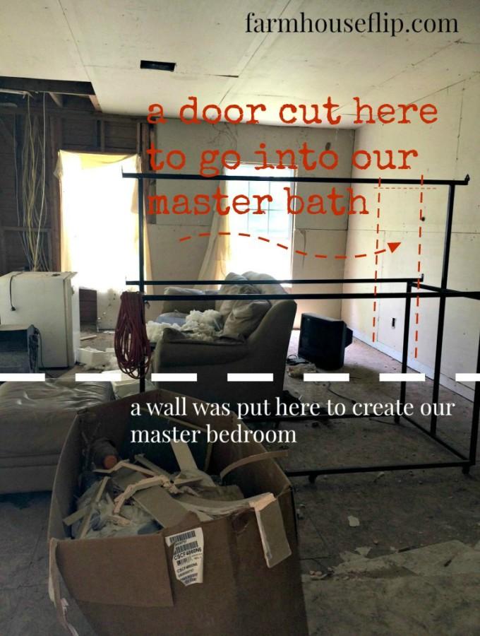 living room bedroom with door cut